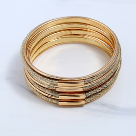 Multilayer Golden Polishing Alloy Large Circles Exotic Bracelets & Bangles Sets