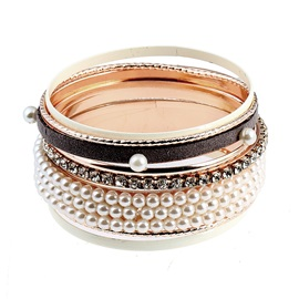 Pearl Rosary Diamante Gold-Tone Metal Multilayer Thin Circles Combination Bracelets & Bangles Sets