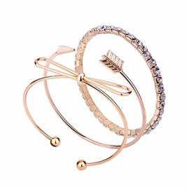 Bowknot & Indicator Design Rhinestone OL Three-Piece Bangle Sets