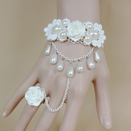 White Rose Pearl Decorated Romantic Wedding Bracelets with Ring
