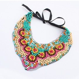 Beautiful Beads Tassel Flowers Lace-up Women's Necklace