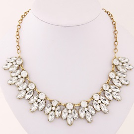 Silver Flower-Shaped Crystal Necklace