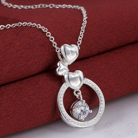 Heart with Circle Shaped Crystal Necklace