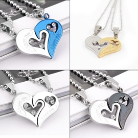 Nice Heart in Heart Titanium Steel Lovers' Necklaces(Price For A Pair)