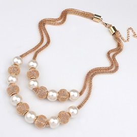 European Double Layer Circle Balls & Pearls Necklace