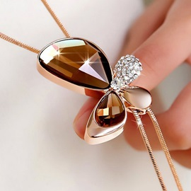Fashion All Matched Crystal Butterfly Pendant Necklace
