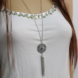 Bohemian Fashion Turquoise Hollow Tassels Necklace