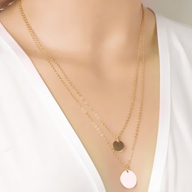 Double Layers Alloy Sequins Women Necklace