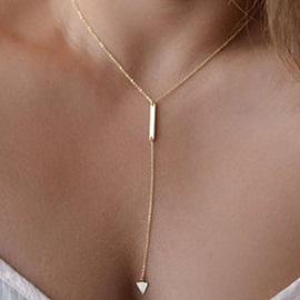 Metal Triangle Tassel Women Necklace