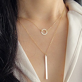 Fashion Double Layers Metal Pendant Necklace