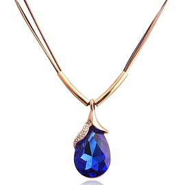 Water Drop Shaped Crystal Pendant Necklace