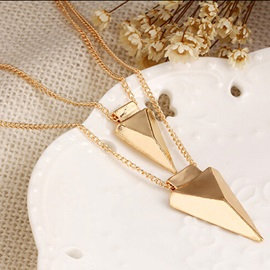 Double Layers Metal Triangle Pendant Necklace