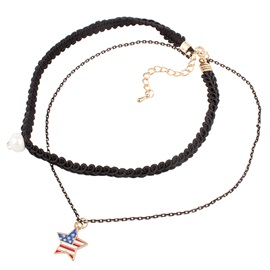 Star Pendant Double Layers Pearl Choker Necklace