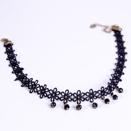 Black Beads Tassels Lace Necklace