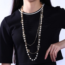 Multilayer Plastic Beads Gold Plated Necklace