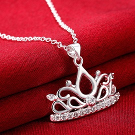Crown with Rhinestone Pendant Necklace