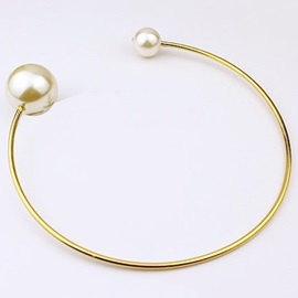 White Pearl Inlaid Alloy Collar