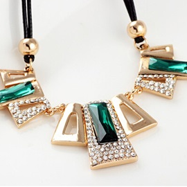 Green Crystal Pendant Double Layers Rope Necklace