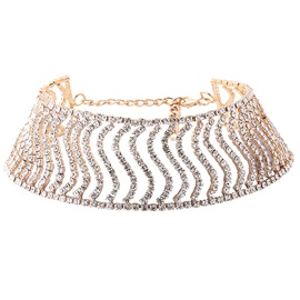 S-Shaped Rhinestone Inlaid Vintage Style Choker Necklace