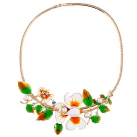 Colored Oil Drip Flowers Short Necklace
