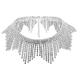 Sparkling Alloy Diamante Tassels Choker Necklace