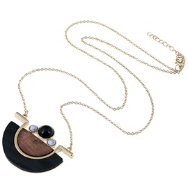Long Alloy Chain Semilune Wood Pendant Necklace