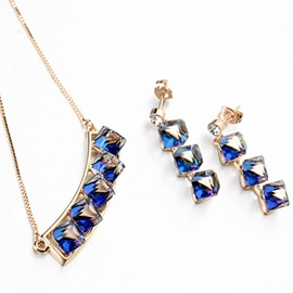 Blue Crystal Inlaid Golden Two-Pieces Jewelry Set
