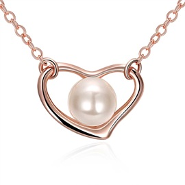 Sweetheart with Pearl Rose Gold Chain Necklace