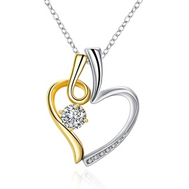 Simple Round Zircon Embellished Heart Necklace