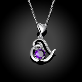 Heart-Shaped Pendant Ultra Violet Crystal Inlaid Necklace