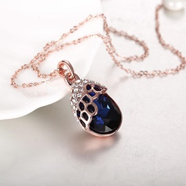 Sapphire Water Drop Shaped Pendant Necklace