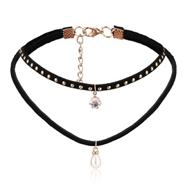 European E-plating Alloy Diamond Velvet Two-Layer Choker Necklaces