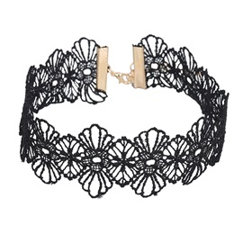 Flower Shaped Lace Alloy Korean Torques Choker Necklace