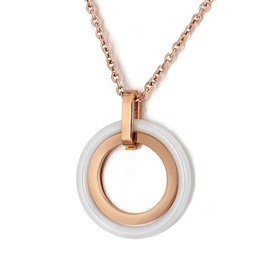 Crossed Circles Ceramic Stainless Steel E-Plating Pendant Necklaces