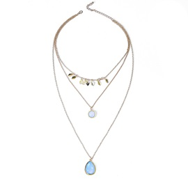 Accshine Water Drop Shaped Stone Multilayer Alloy Necklaces