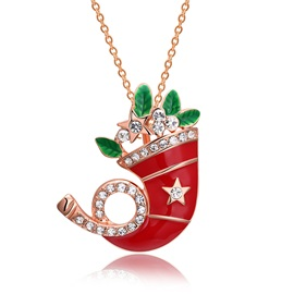 Christmas Santa Hat Oil Drip Alloy Necklaces