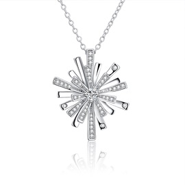 Christmas Bronze Snowflake Zircon Diamante Necklace