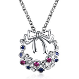 Christmas Bronze Colorful Zircon Bowknot Hollow Out Necklace