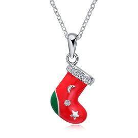 Christmas Socks Oil Drip Diamante Alloy Necklaces