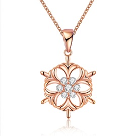 Christmas Hollow Out Pendant Bronze Snowflake Zircon Necklace