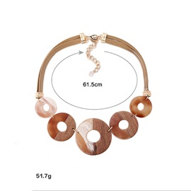 Hollow Out Great Circle Alloy Acrylic Necklace