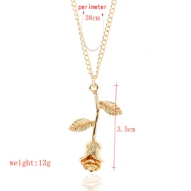 Valentine Gift Gold Plated Rose Shaped Simple Necklace