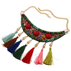 Cloth Resin Seed Bead Tassel Necklace