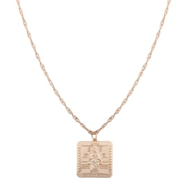 Square Religion Statue Pendant Alloy Necklace