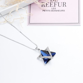 Asymmetric Geometric Pattern Artificial Crystal Gemmed Necklace