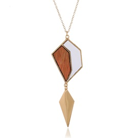 Wood Geometric Pattern E-plating Pendent Necklace