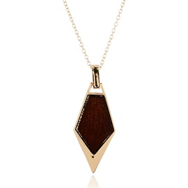 New Style Geometric Wood Metallic Pendant Necklace