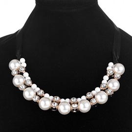 European Style Pearl Inlaid Lace-Up Choker Necklace