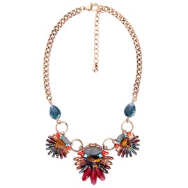 Bohemian Natural Stone Inlaid Floral Pendent Necklace