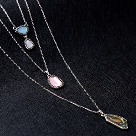 Multilayer Colored Gem Decorated Pendant Necklace